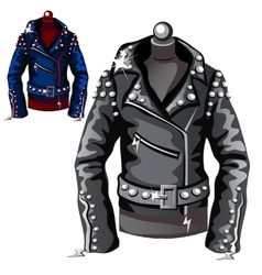 Black leather biker jacket vector image