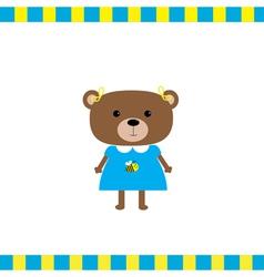 Cartoon bear girl card vector image