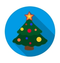 Christmas tree icon in flat style isolated on vector image