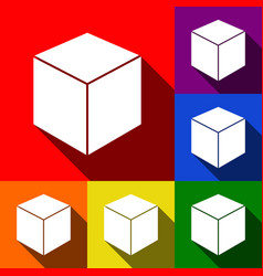 cube sign set of icons with vector image