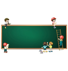 Kids around the empty greenboard vector image vector image