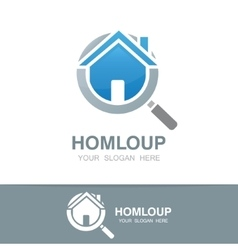loupe and house logo vector image vector image
