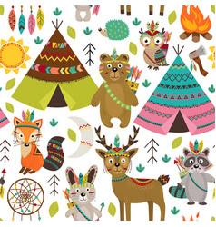 seamless pattern with tribal animals and elements vector image