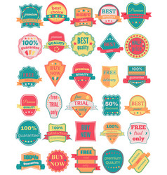 set of thirty badges with ribbons vector image vector image