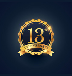13th anniversary celebration badge label in vector image