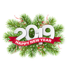 2019 numbers on christmas tree branches vector