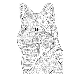 Adult coloring bookpage a cute fox image vector