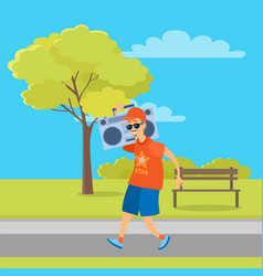 aged man going with record player in park vector image