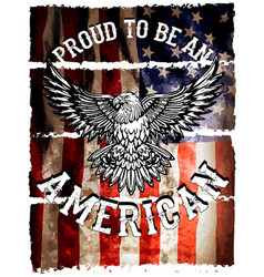 American flag and eagle grunge vector