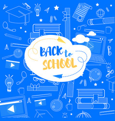 back to school lettering school stuff background vector image