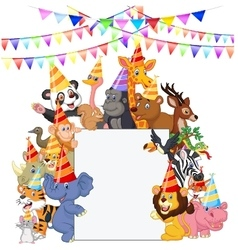 Banner Featuring Safari Animals Weari vector