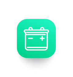 Battery line icon on green shape vector