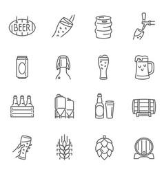 beer glass cup mug barrel thin line icons set vector image