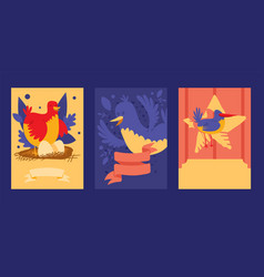 bird card design set of vector image