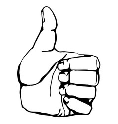 black and white outline thumbs up icon graphic vector image