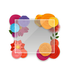 blank glass board with color flowers template vector image