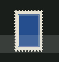 Blue blank postage stamp toothed border sticker vector