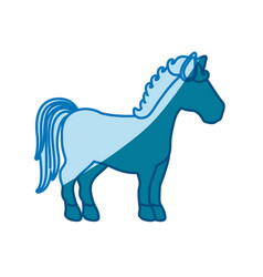 Blue silhouette of faceless horse standing vector