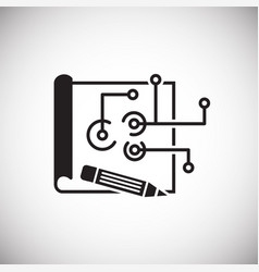Blueprint icon on white background for graphic and vector