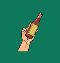 Bottle with drink in hand vector