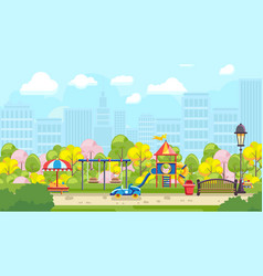 Bright playground in city vector