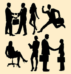 business meetings and partnership silhouette vector image