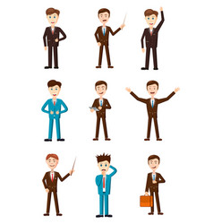 businessman icon set cartoon style vector image