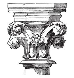 capital volutes vintage engraving vector image