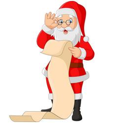 cartoon santa claus reading a long list gifts vector image