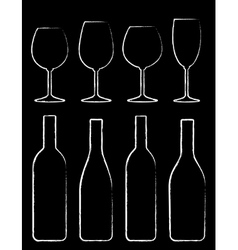 chalk wine bottle and glass set vector image