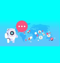 Chatbot robot speech bubble arabic people avatar vector