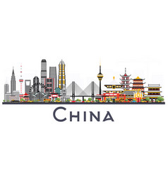 china city skyline isolated on white background vector image