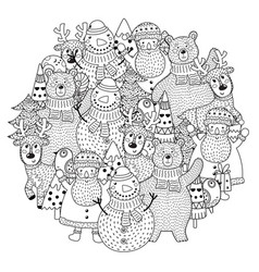christmas characters circle shape pattern for colo vector image