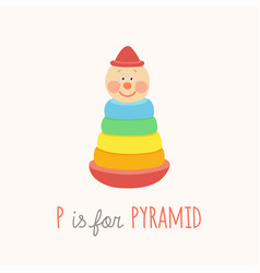 colorful toy pyramid with clown head abc letter p vector image