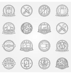 Computer service badges vector