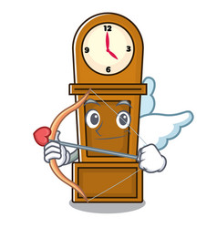 cupid grandfather clock character cartoon vector image