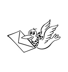 Cute bird delivering letter outlined cartoon vector