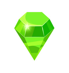 Diamond sparkling shining green color isolated on vector
