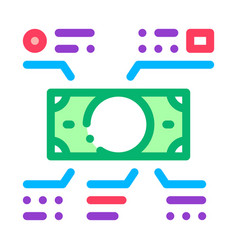elements of cash banknotes icon outline vector image