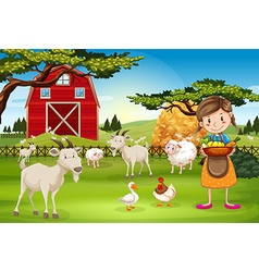 Farmer working on the farm with animals vector