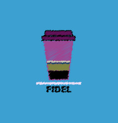 Flat icon design collection fidel coffee to go vector