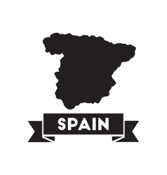 Flat icon in black and white map of Spain vector