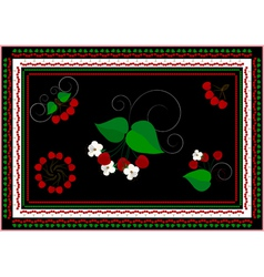 Frames and ornaments with cherry vector image vector image
