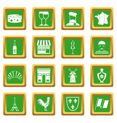 France travel icons set green vector