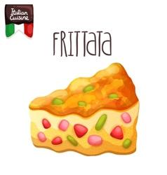 Frittata Omelette with tomato zucchini vector image