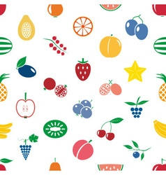 Fruit theme color simple icons seamless modern vector