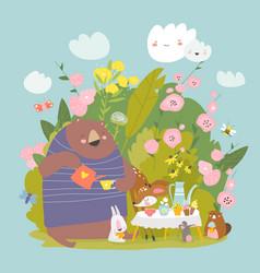 funny cartoon animals drinking tea in bushes of vector image