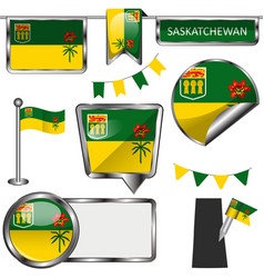 Glossy icons with flag of province saskatchewan vector