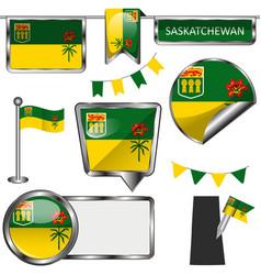 Glossy icons with flag province saskatchewan vector