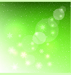 Glowing snowflakes on green background vector